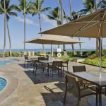 umbrella tables at pool