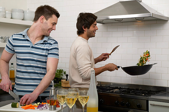Men from Work cooking in self-catering accommodation
